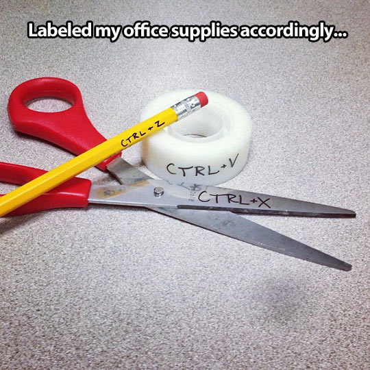Labeled my office supplies…