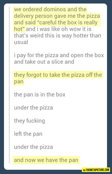 Pizza delivery goes wrong…
