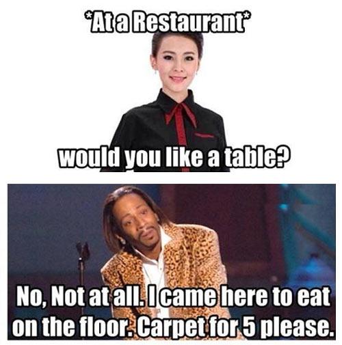 At a restaurant…