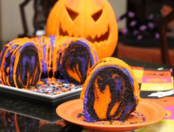 Expectation - Halloween rainbow bundt cake.