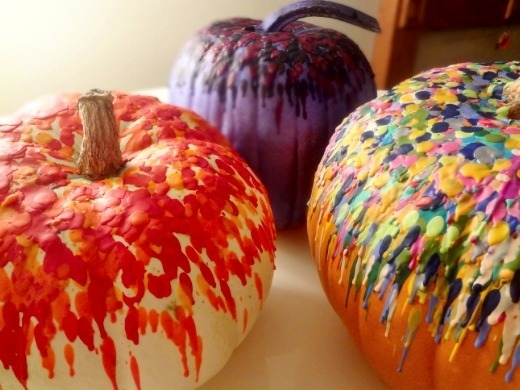 Expectation - Melted crayon pumpkins.