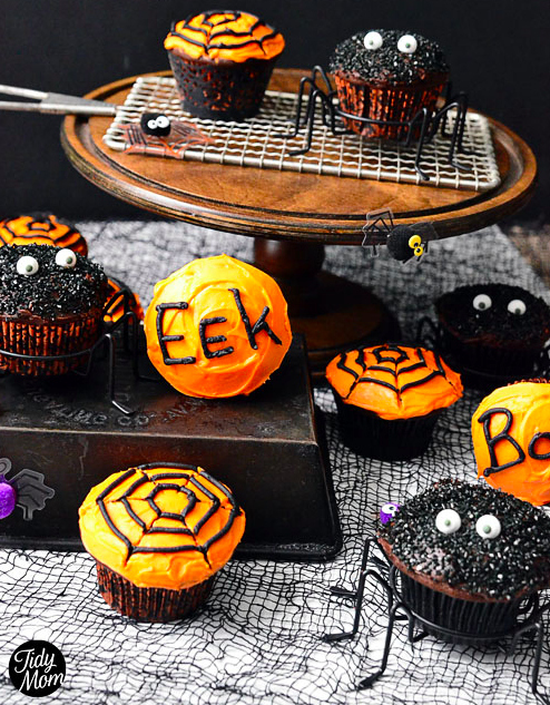 Expectation - Spooky spider cupcakes.