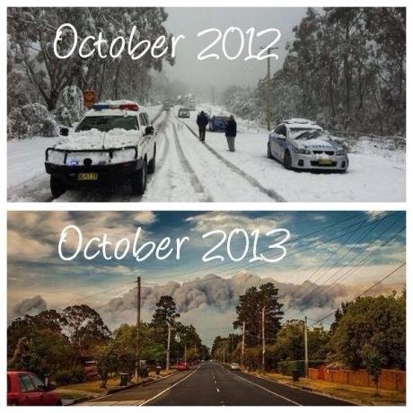 My town one year apart - Austrailments