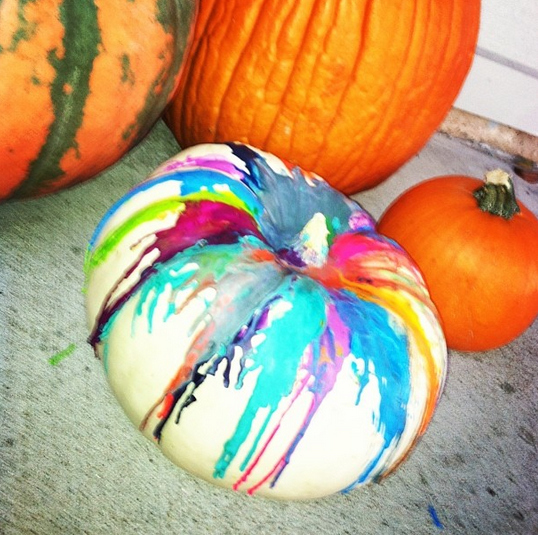 Reality - Melted crayon pumpkins.