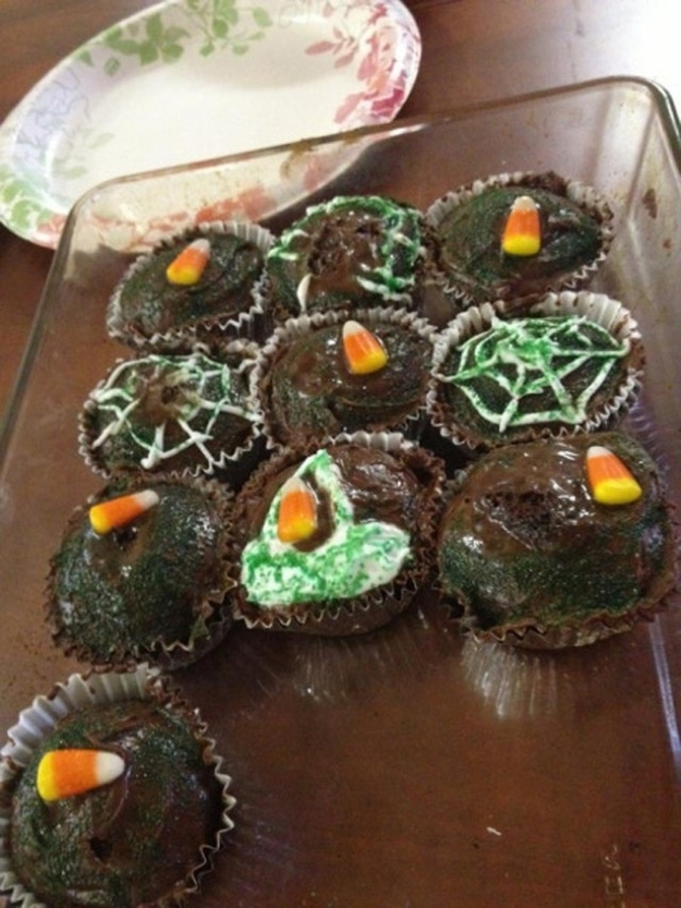 Reality - Spooky spider cupcakes.