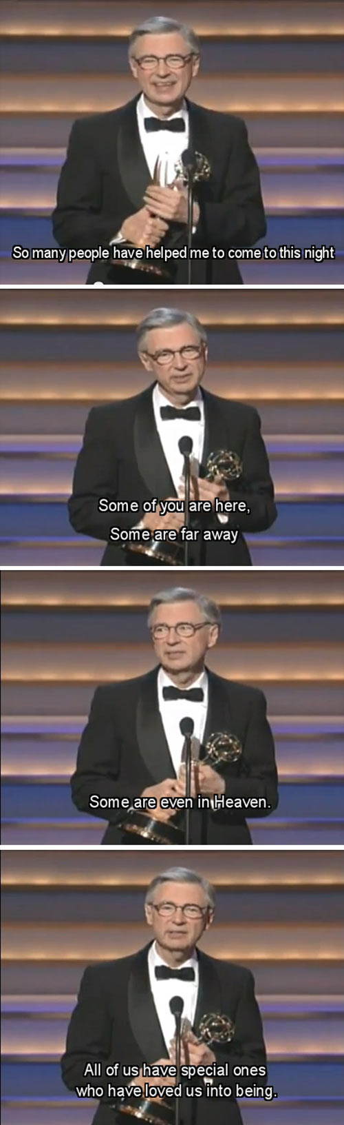 Thank you for accepting me into your neighborhood, Mr. Rogers...