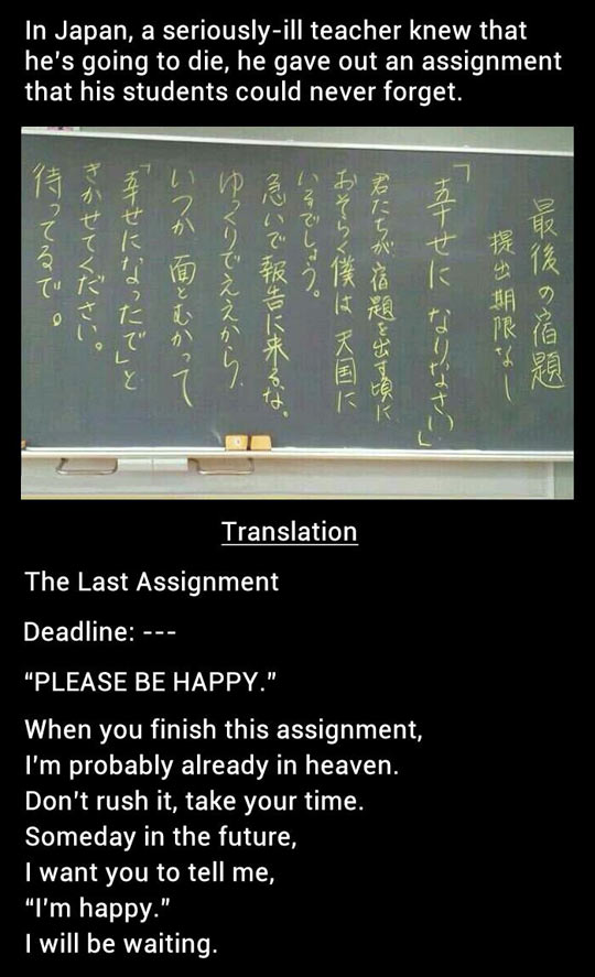 The last assignment from a dying teacher…