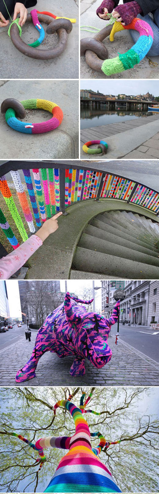 Massive yarn bombing in the city...