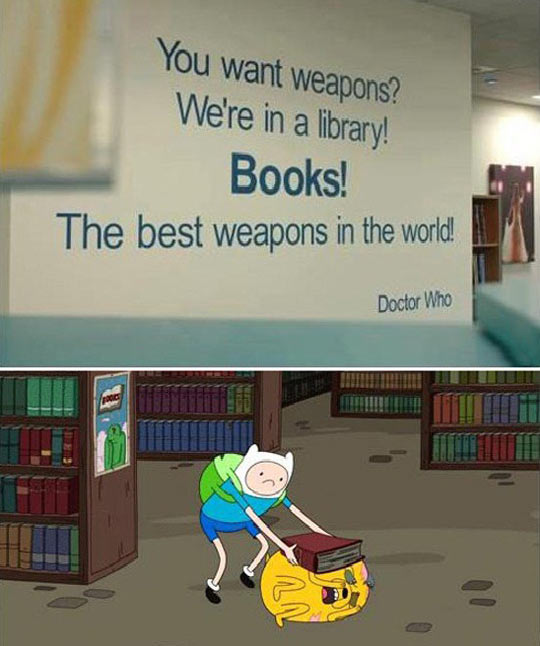 funny-Adventure-Time-books-library-weapon