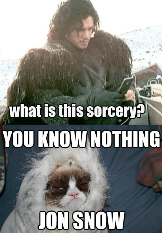 Jon Snow tries technology…