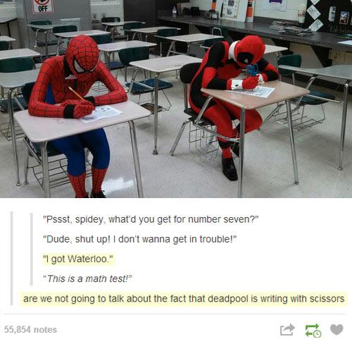 funny-Spiderman-Deadpool-school-test