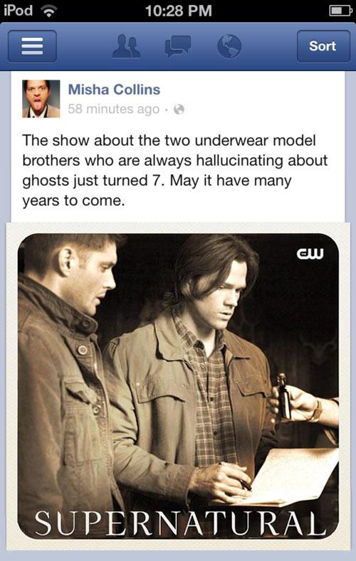 Misha Collins sumps up Supernatural…