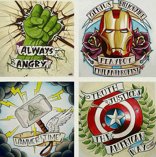 avengers tattoo ideas. Black Bedroom Furniture Sets. Home Design Ideas
