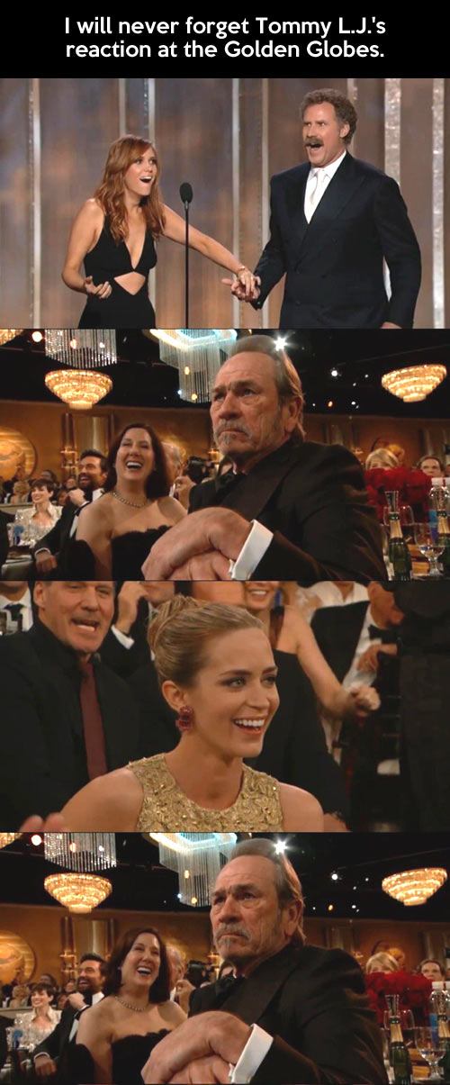Tommy Lee Jones reaction at Golden Globes...