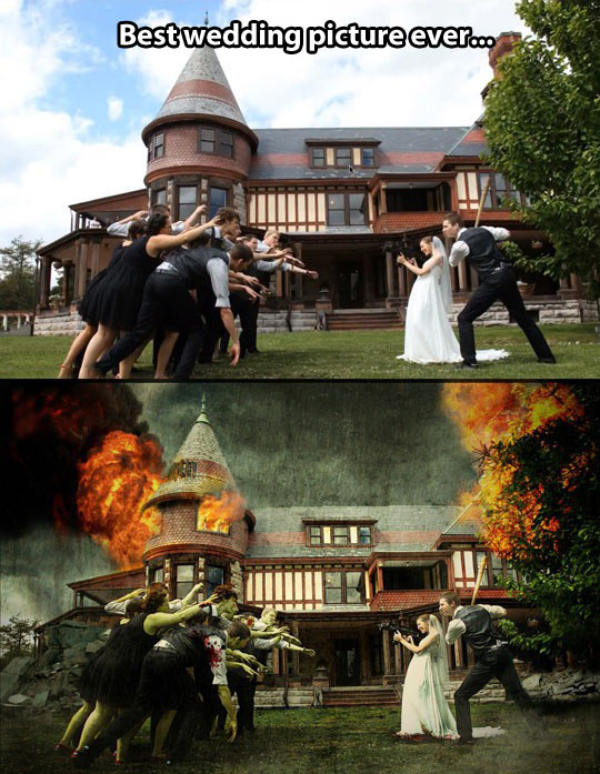 One of the most creative wedding pictures ever…