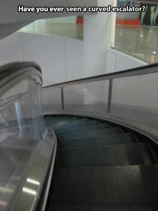 Curved escalator…
