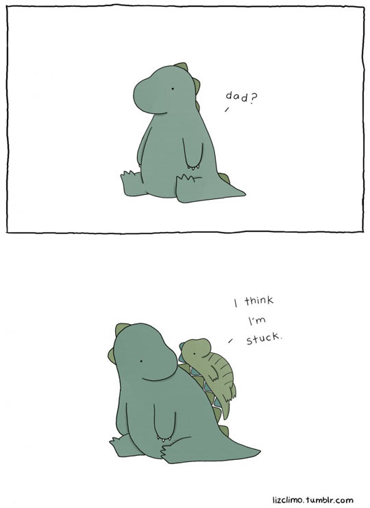 It's not easy being a dinosaur…