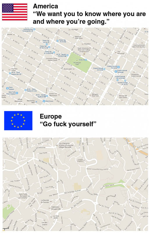 Driving in America vs. driving in Europe…
