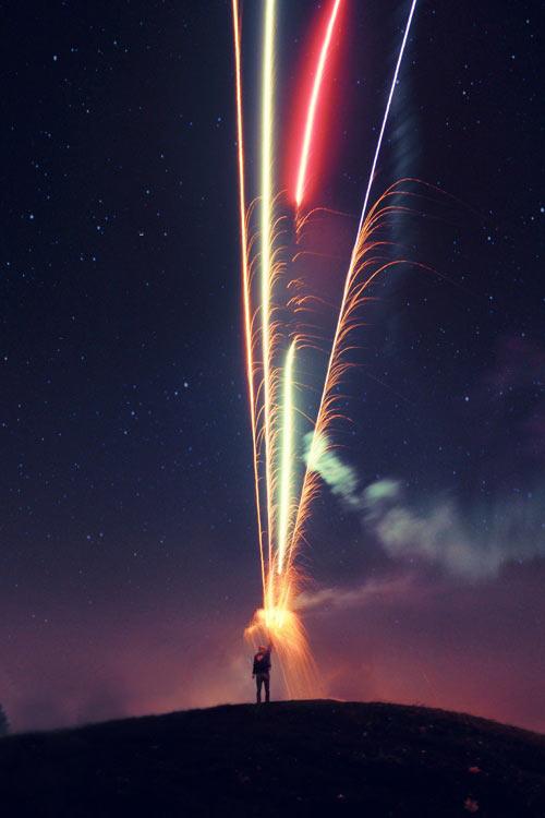 Shooting fireworks…