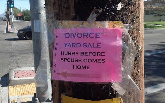 Divorce yard sale…