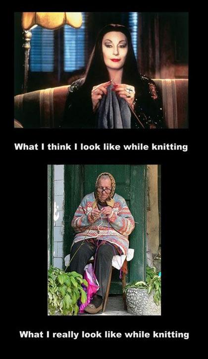 what i think i look like while knitting�