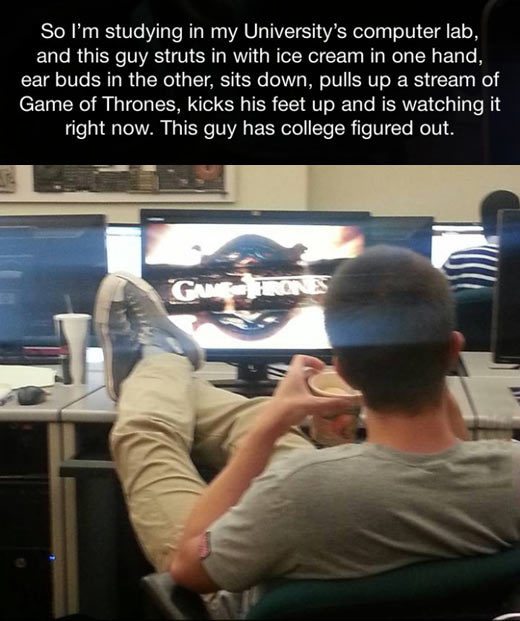 This guy has college figured out…