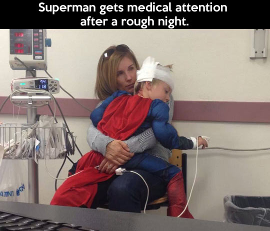 Rough night for Superman…