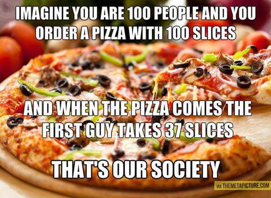 Imagine a pizza with 100 slices…