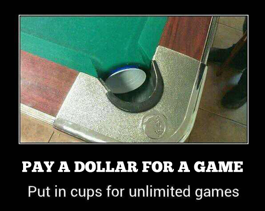 Give a man a dollar, he'll play pool forever…