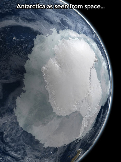 The coldest continent as seen from space…