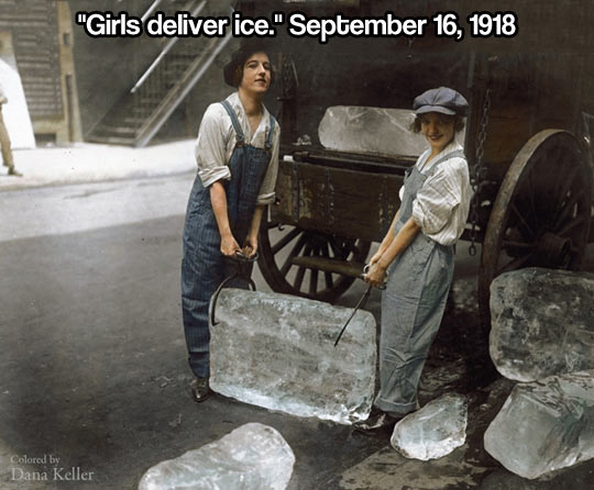 Girls deliver ice…
