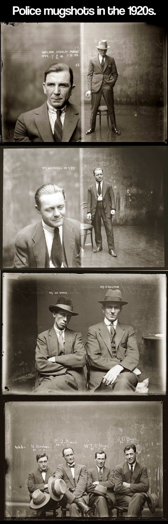 Police mugshots in the 1920s...