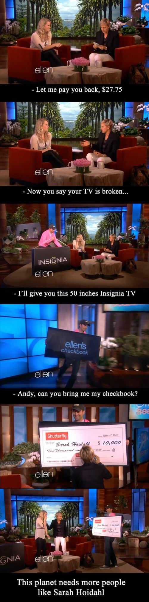 cool-waitress-Ellen-TV-gift
