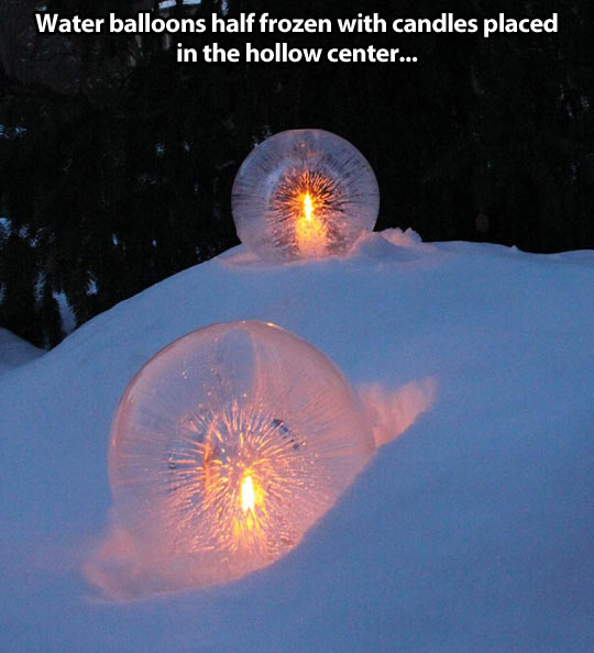 cool-water-balloons-frozen-candles-snow
