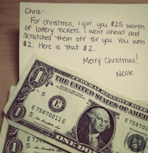 Lottery tickets are the best last minute Christmas gifts…