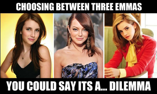 Choosing between three Emmas…