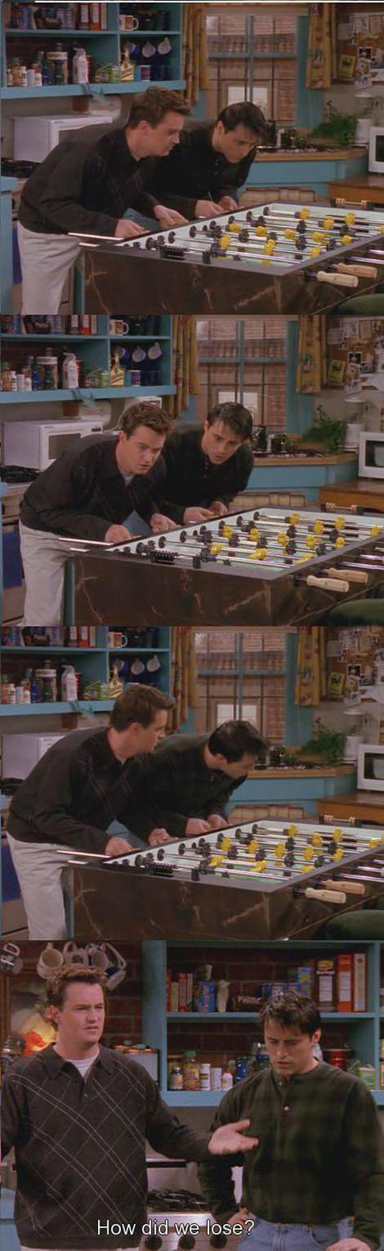 Playing foosball…