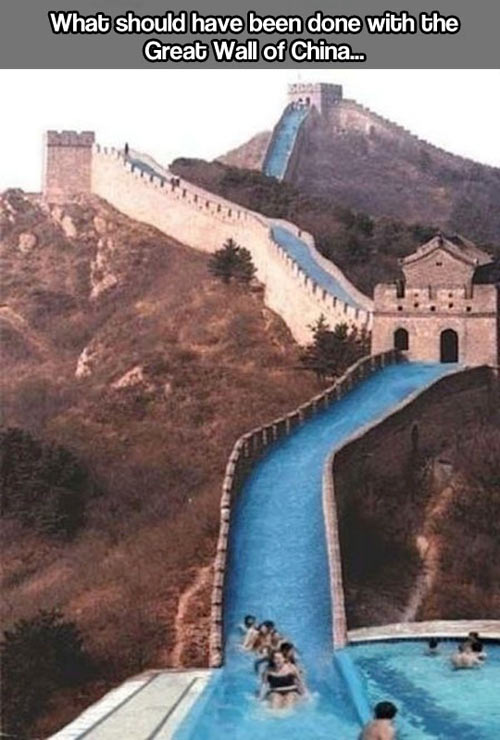 funny-Great-Wall-China-water-slide-theme-park