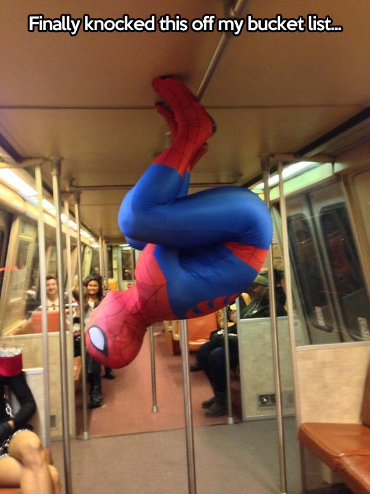 funny-Spiderman-subway-hanging-ceiling