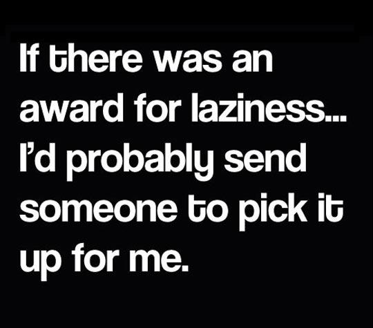 Award for laziness…