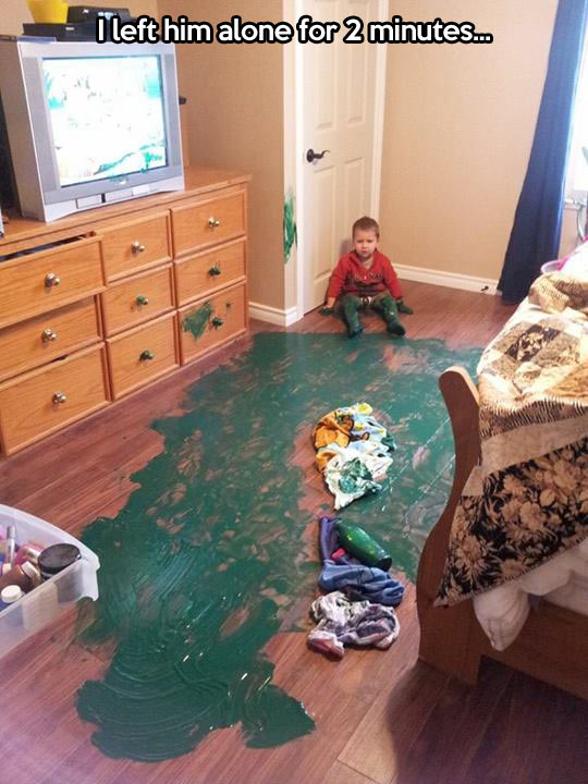 funny-baby-paint-dirty-floor