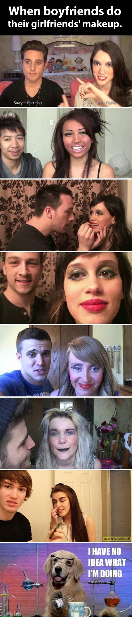 When boyfriends do their girl's makeup…