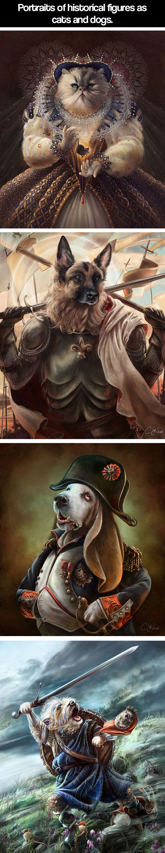 Historical figures as cats and dogs...