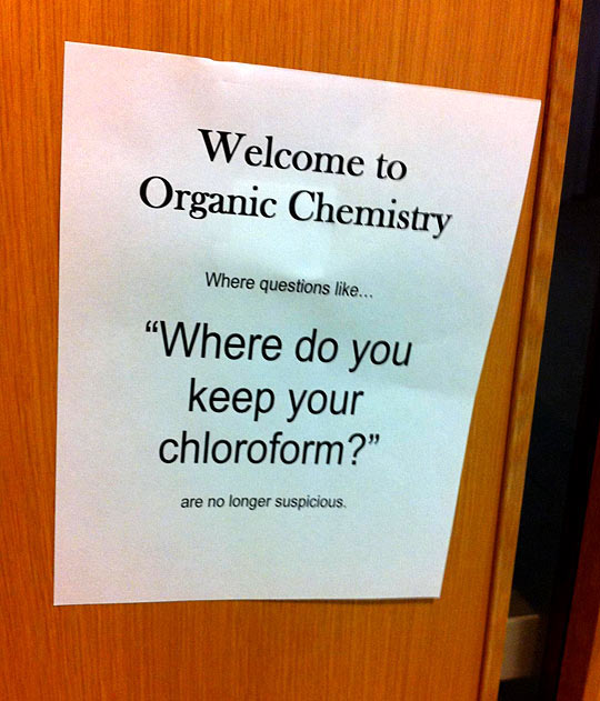 In the Chemistry building at school…