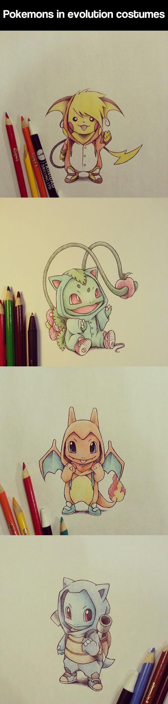 Pokemon wearing evolution costumes...