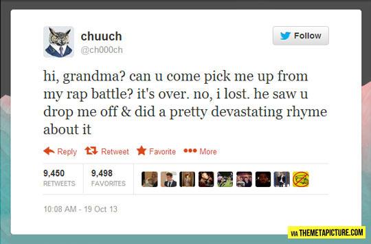 It's over grandma…
