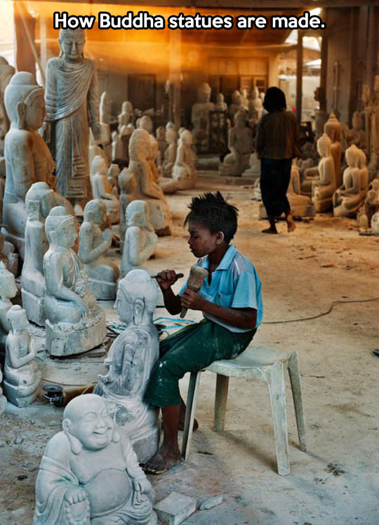 funny-kid-Buddha-handmade-carving