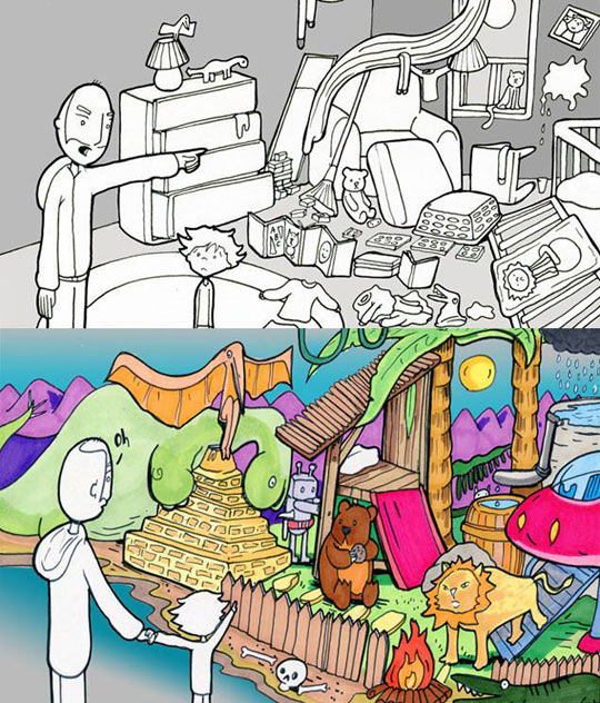funny-kid-bed-world-imagination
