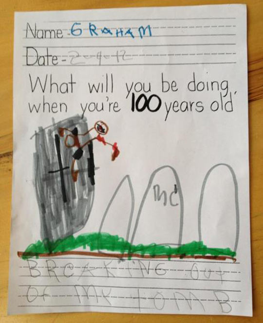 funny-kid-drawing-zombie-cemetery