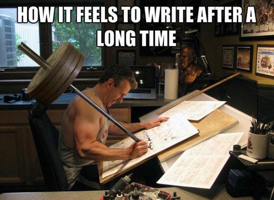funny-man-weight-writing-hard